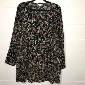 J. Jill Paisley Tunic Top Rayon Long Sleeve XL